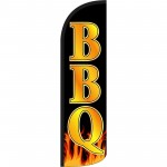 BBQ Black Gold Extra Wide Windless Swooper Flag