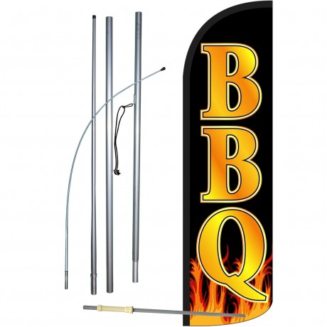 BBQ Black Gold Extra Wide Windless Swooper Flag Bundle