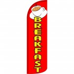 Breakfast Red Coffee Extra Wide Windless Swooper Flag