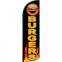 Burgers Black Extra Wide Windless Swooper Flag