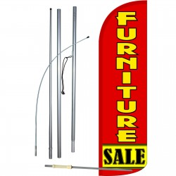 Furniture Sale Red Extra Wide Windless Swooper Flag Bundle
