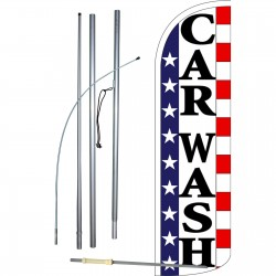 Car Wash Stars & Stripes Extra Wide Windless Swooper Flag Bundle
