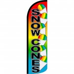 Snow Cones Rainbow Extra Wide Windless Swooper Flag