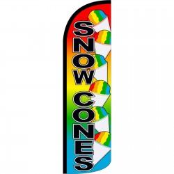 Snow Cones Rainbow Extra Wide Windless Swooper Flag