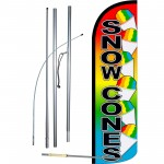 Snow Cones Extra Wide Windless Swooper Flag Bundle