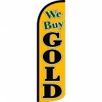 We Buy Gold Yellow Extra Wide Windless Swooper Flag