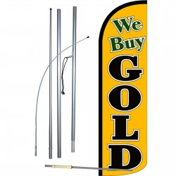 We Buy Gold Yellow Extra Wide Windless Swooper Flag Bundle