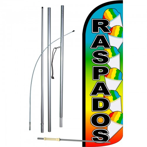 SNOW CONES Flag Kit 3' Wide Windless Swooper Feather Advertising Sign