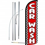 Car Wash Red Checker Extra Wide Windless Swooper Flag Bundle
