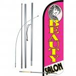 Beauty Salon Pink Extra Wide Windless Swooper Flag Bundle