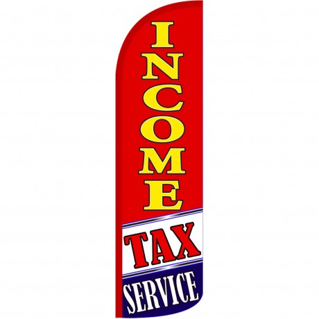 Income Tax Service Red Extra Wide Windless Swooper Flag