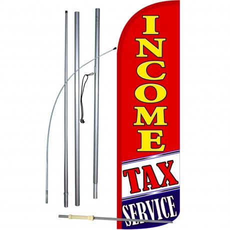 Income Tax Service Red Extra Wide Windless Swooper Flag Bundle