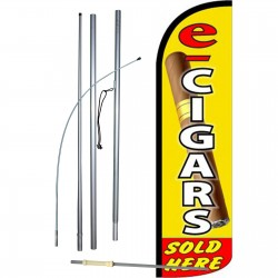 E-Cigars Sold Here Extra Wide Windless Swooper Flag Bundle