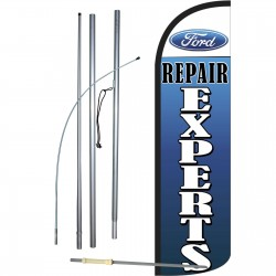 Ford Repair Experts Extra Wide Windless Swooper Flag Bundle