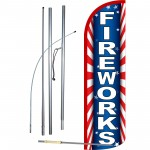 Fireworks Extra Wide Windless Swooper Flag Bundle