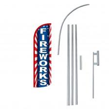 Fireworks Extra Wide Windless Swooper Flag Bundle