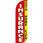 Insurance Auto Home Life Red Extra Wide Windless Swooper Flag