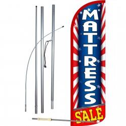 Mattress Sale USA Extra Wide Windless Swooper Flag Bundle