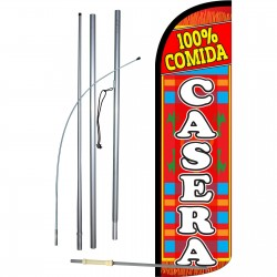 100% Comida Casera Extra Wide Windless Swooper Flag Bundle