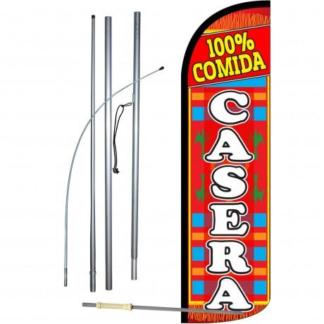 100% Comida Casera Extra Wide Windless Swooper Flag Bundle