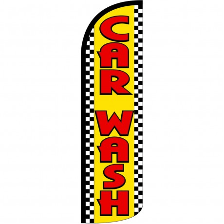 Car Wash Yellow Checker Extra Wide Windless Swooper Flag