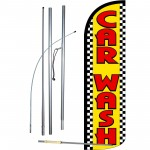Car Wash Yellow Checker Extra Wide Windless Swooper Flag Bundle
