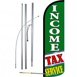 Income Tax Service Green Extra Wide Windless Swooper Flag Bundle