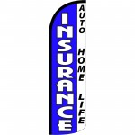 Insurance Auto Home Life Blue Extra Wide Windless Swooper Flag