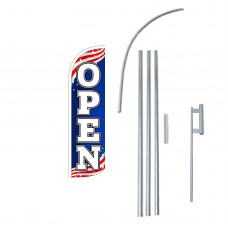 Open USA Extra Wide Windless Swooper Flag Bundle