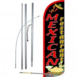 Mexican Restaurant Extra Wide Windless Swooper Flag Bundle