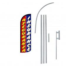 Aseguranza Insurance Extra Wide Windless Swooper Flag Bundle