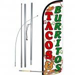 Tacos & Burritos Extra Wide Windless Swooper Flag Bundle