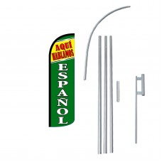 Aqui Hablamos Espanol Extra Wide Windless Swooper Flag Bundle