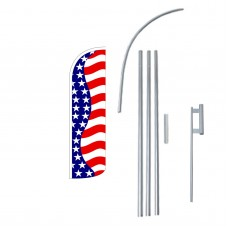 Stars & Stripes Extra Wide Windless Swooper Flag Bundle