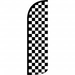 Checkered Black & White Extra Wide Windless Swooper Flag