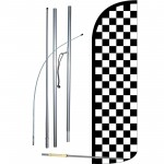 Checkered Black & White Extra Wide Windless Swooper Flag Bundle