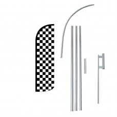 Black & White Checkered Extra Wide Windless Swooper Flag Bundle