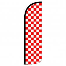 Red & White Checkered Extra Wide Windless Swooper Flag