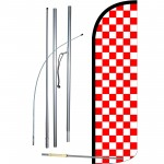 Checkered Red & White Extra Wide Windless Swooper Flag Bundle