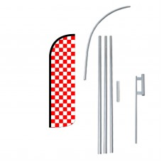 Red & White Checkered Extra Wide Windless Swooper Flag Bundle