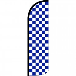 Checkered Blue & White Extra Wide Windless Swooper Flag