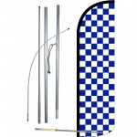 Checkered Blue & White Extra Wide Windless Swooper Flag Bundle
