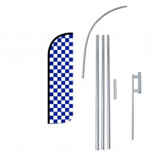 Blue & White Checkered Extra Wide Windless Swooper Flag Bundle