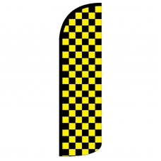 Black & Yellow Checkered Extra Wide Windless Swooper Flag