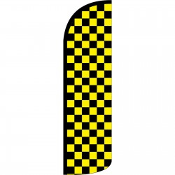 Checkered Black & Yellow Extra Wide Windless Swooper Flag