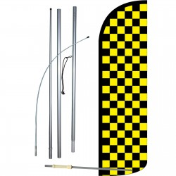 Checkered Black & Yellow Extra Wide Windless Swooper Flag Bundle