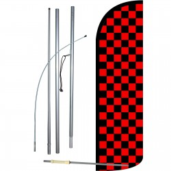 Checkered Black & Red Extra Wide Windless Swooper Flag Bundle
