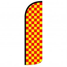 Red & Yellow Checkered Extra Wide Windless Swooper Flag
