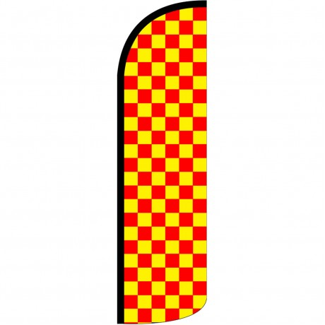 Checkered Red & Yellow Extra Wide Windless Swooper Flag