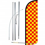 Checkered Red & Yellow Extra Wide Windless Swooper Flag Bundle